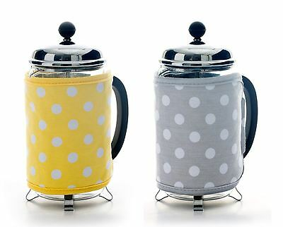 Dexam Flamenco Polka Dot Cafetiere Cosy in Grey or Yellow