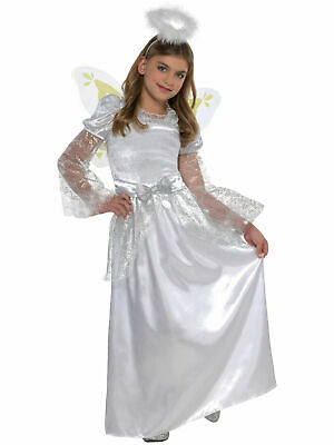 Deluxe Girls Angel Costume Kids Nativity Play Christmas Fancy Dress Outfit Child