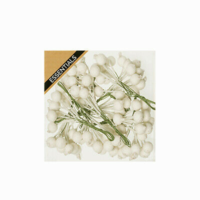Frosted Off-White Artificial Berries on Wires 12mm x 120 berries