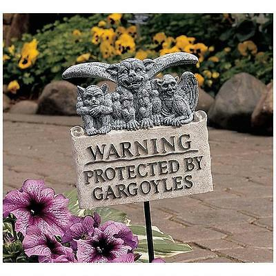 Warning Protected By Gargoyles Garden Sign with Stake