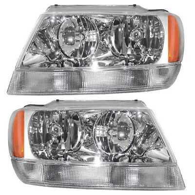 NEW HEADLIGHT HEADLAMP PAIR LEFT & RIGHT fits 99-04 JEEP GRAND CHEROKEE