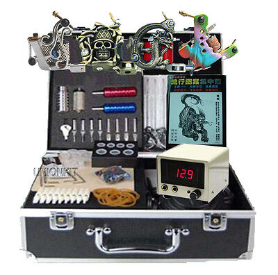 New 4 tattoo machine kit needles grip tips tattooing power supply complete sets