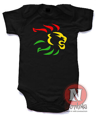 Naughtees Clothing Rasta Lion Reggae Dub Strampler Baby Anzug 100% Cotton Neu