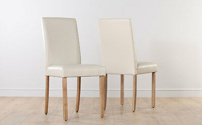 2 4 6 8 City Ivory Leather Dining Room Chairs Oak Leg