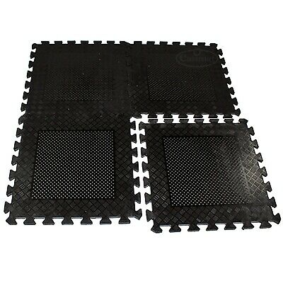 Heavy Duty Gym Garage Rubber Mats 4pcs Interlocking Flooring Tiles Industrial