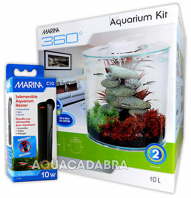 Marina 360 Aquarium Kit With Heater Tropical Fish Tank 2.65 Gallons
