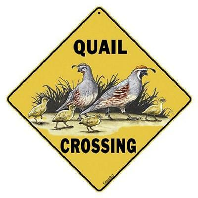 "Quail Metal Crossing Sign 16 1/2"" x 16 1/2"" Diamond shape Made in USA #143"