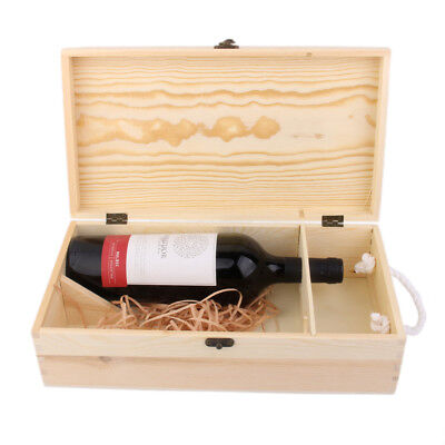Dual Bottle Wood Wine Box Carrier Crate Case with Rope Birthday Party Gift
