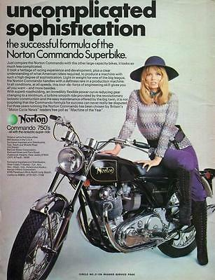 "1971 Norton Commando 750 Motorcycle ""Sophistication"" Original Color Ad"