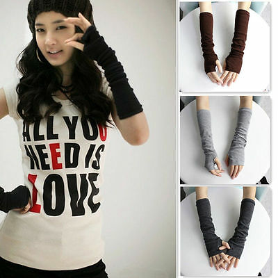 New Fashion Women Girls Ladies Soft Arm Warmer Long Fingerless Gloves 6 Colors