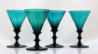 4x antique, early 19th C White Wine Glass, blue-green crystal, 1800-1820 Holland