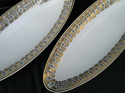 2 Lovely Vintage Mid Century Modern Atomic Server Bowl Oval Low Dish Royal Crown