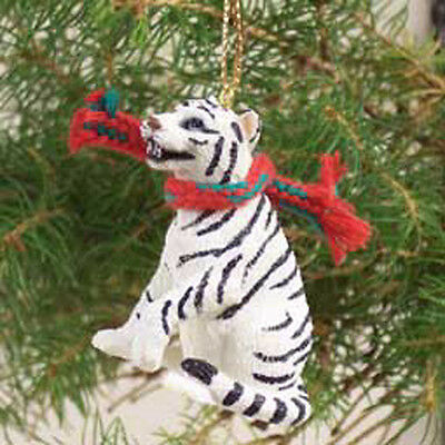 TIGER White with Scarf Tiny One Miniature Christmas ORNAMENT