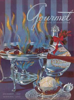 Gourmet magazine cooking desserts cover Cherries Flambe art poster print SKU2276
