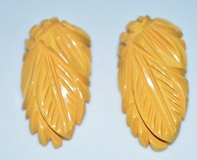 Vintage Deep Carved Butterscotch Yellow Bakelite Tested Scarf Fur Dress Clips