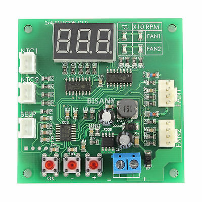 Fan Thermostat Governor 4-Wire PWM 12V/24V/48V Temperature Speed Dispaly Probe