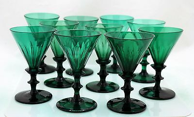 10x antique, early 19th C White Wine Glass blue/green crystal, 1800-1820 Holland