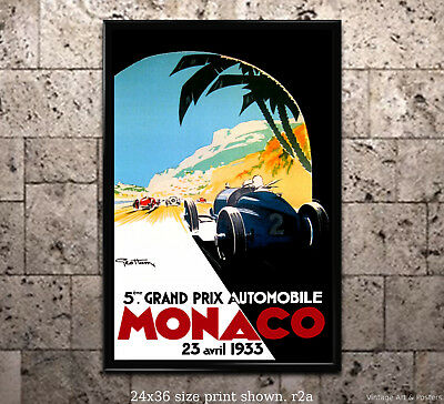 MONACO,France 1933 Art Deco Travel//Motor Racing Poster A1A2A3A4Sizes