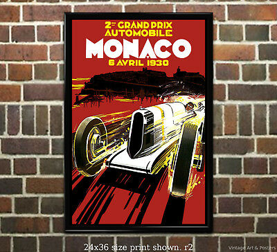 1935 Monaco Grand Prix Road Race Vintage Style Automobile Poster 20x30