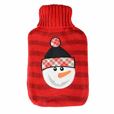 Large Hot Water Bottle With Knitted Cover Winter Warmer New - Red Snowman