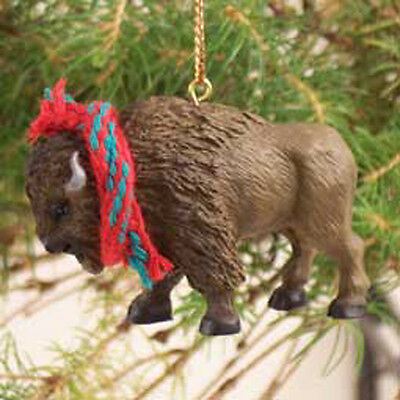 BUFFALO with Scarf Tiny One Miniature Christmas ORNAMENT