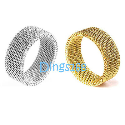 Men or women's Flexible 925 Sterling Silver 10mm wide Mesh Band Ring Size 3 ~ 11