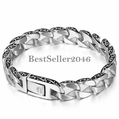 Polished Stainless Steel Gothic Heavy Biker Cuban Chain Link Men's Bracelet 8.2""
