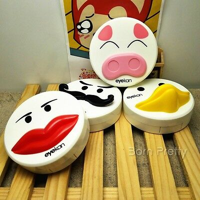 1Pc Beard Pig Pattern Contact Lenses Case Holder Box Container (Random Pattern)