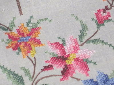 Spring Lily Extravaganza! Vtg German Madeira Hand Embroidered Tablecloth Easter?
