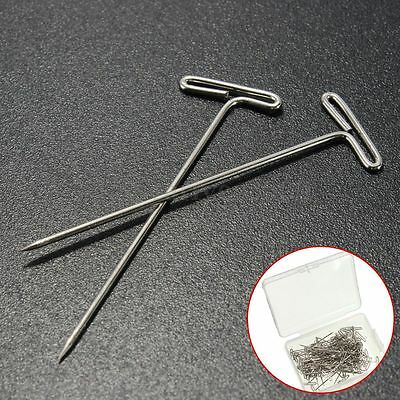 50x Metal 38mm Long T Pins Pack For Modelling Macrame Wigs Sewing Craft Jewelry