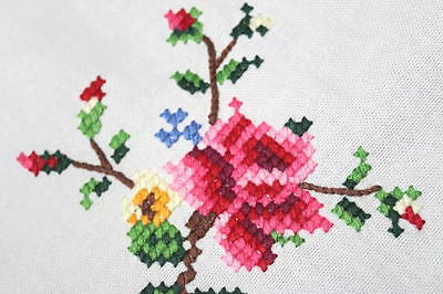 Pink Spring Roses & White Scrollwork! Vtg German Hand Embroidered Tablecloth