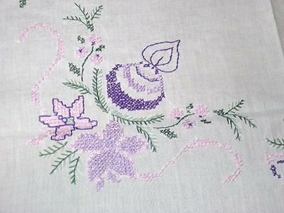 A Perfectly Purple Christmas! Vintage German Hand Embroidered Tablecloth