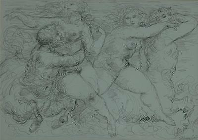 Fabulous Original Pen & Ink Drawing by Charles Burdick of Centaurs & Nude Nymphs