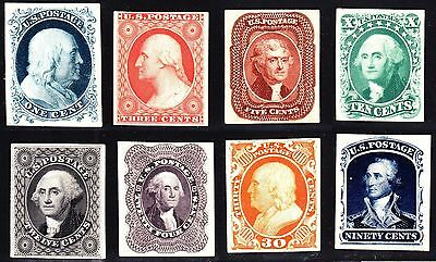 US 40P4-47P4 1857-60 Issue Proofs on Card VF-XF SCV $580