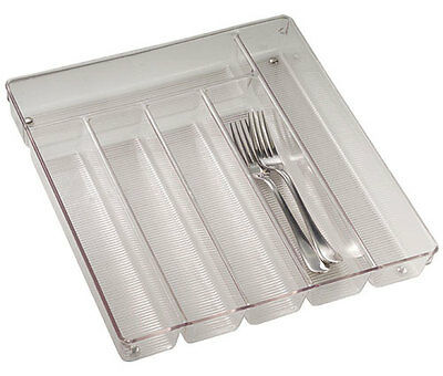 Large Clear Plastic Cutlery Storage Tray Kitchen Drawer Organization