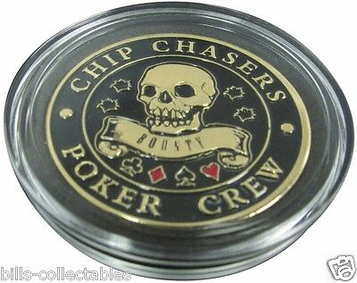 CHIP CHASERS -  POKER CREW gold color Poker Card Guard Protector - SKULL