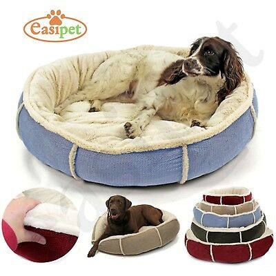Deluxe Round Soft Dog Bed Pet Puppy Cat Warm Basket Cushion with Fleece Lining
