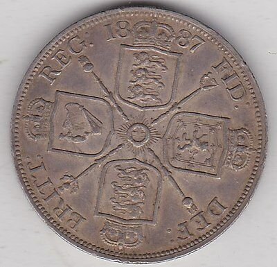 1887 Roman One Double Florin In Extremely Fine Condition