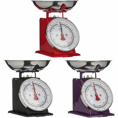 Traditional 5KG Kitchen Weighing Scales Black Red Purple Vintage Retro Bowl New