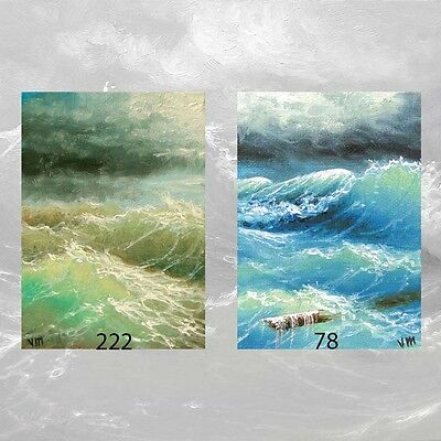 LOT #15 of 2 ACEO ARCHIVAL FINE ART PRINTS  SEASCAPE Ocean Stormy Waves Clouds