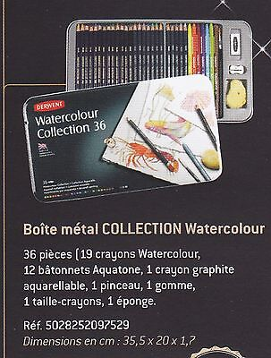 Derwent Boite Metal Crayons Aquarellables Water Colour 36 Pieces
