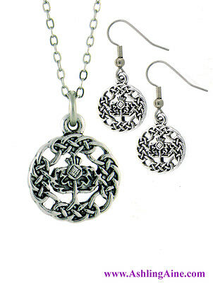 """Pewter Scottish Thistle 18"""" Necklace and Earring Set"""