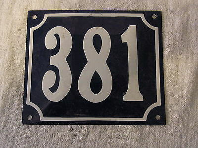 Vintage German Enamel & Iron Sign Blue House 381 #B
