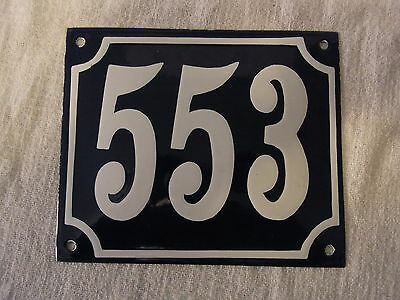 Vintage German Enamel & Iron Sign Blue House 553 #B