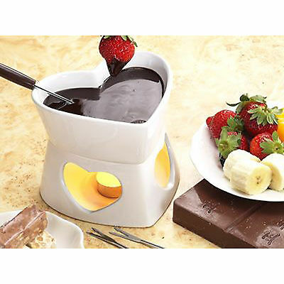 White Fondue Heart Dipping Chocolate Cheese Tea Light Holder Forks Party Share