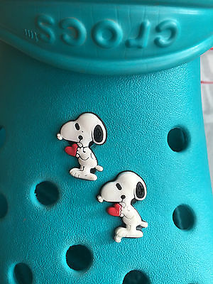 2 Snoopy Shoe Charms For Crocs & Jibbitz Wristbands. Free UK P&P.