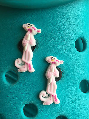 2 Pink Panther Shoe Charms For Crocs & Jibbitz Wristbands. Free UK P&P