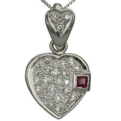 Pave Diamond Heart Pendant With Ruby In 18Kt White Gold