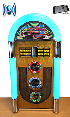 NEW 50's STYLE BLUETOOTH FLOORSTANDING JUKEBOX STEREO CD PLAYER RADIO AUX IN