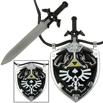 NEW Dark Link Master Sword & Hylian Shield Legends Necklace - Black